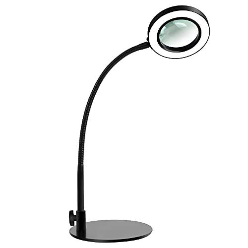 Lámpara con lente de aumento LED BEIGAON Lámpara lupa de escritorio 3 temperatura de color y 10 luminosidad, brazo de gooseneck ajustable, función de memoria lente 3,22' para Leer, Hobbie, Manualidade