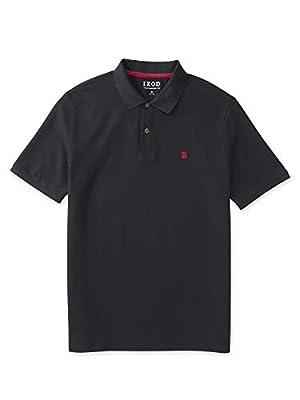 IZOD Men's Regular Fit Advantage Performance Short Sleeve Solid Polo, Black, Medium