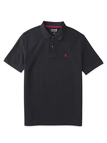IZOD Men's Regular Fit Advantage Performance Short Sleeve Solid Polo, Black, 2X-Large