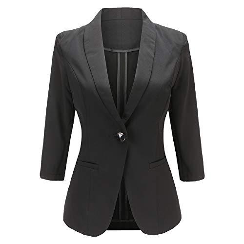 YYNUDA Damen Blazer Elegant Slim Fit 3/4 Arm Anzugjacke mit Schalkragen für Sommer Business