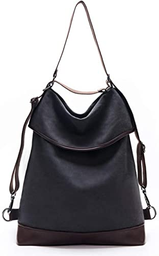 Dr&Phx Donna Borsa Zaino New Women Canvas Bag Borsa A Tracolla Zaino Borsa A Mano Grande Vintage 2In 1 Borse A Tracolla per Il Tempo Libero per Le Donne Borsa Multifunzione da Donna Nera