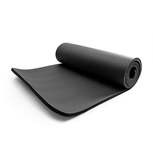 World Fitness Yamuna Gymnastikmatte rutschfest - 183 x 61 x 1,5 cm - inkl. Tragegurt - weiche Oberfläche - Ideale Fitnessmatte für Yoga, Pilates & Workout - Schwarz