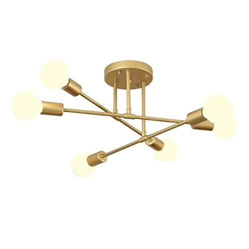 Lámpara de techo nórdica dorada moderna con 6 cabezales lámpara Sputnik luces moleculares para pasillo balcón porche pasillo sala de estar iluminación de techo 6 luces