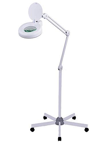 SEMPLIX LED Lupen-Stehlampe 3D weiß (Linse 127 mm/dimmbar/Standfuß mit Rollen)