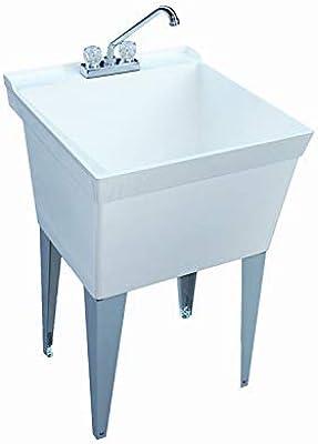 """Swan White 22"""" x 24"""" Premium Floor Mount Laundry Sink"""