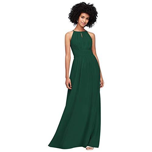 David's Bridal High-Neck Chiffon Bridesmaid Dress with Keyhole Style F19953, Juniper, 26