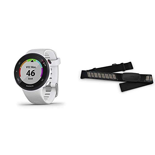 Garmin Forerunner 45S, 39mm Easy-to-use GPS Running Watch with Coach Free Training Plan Support, White & HRM-Dual Heart Rate Monitor