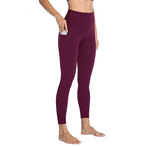 HIGHDAYS High Waisted Yoga Pants with Pockets for Women - Soft Tummy Control Stretchy Workout Leggings Burgundy