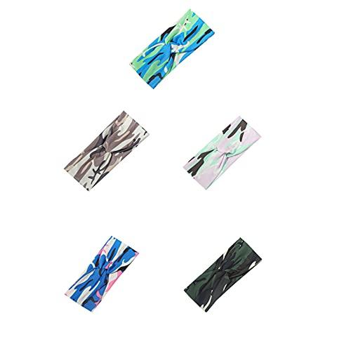 Paquete de 5 diademas bohemias anudadas para yoga, muselina impresa en cruz, bandas elásticas (color G)