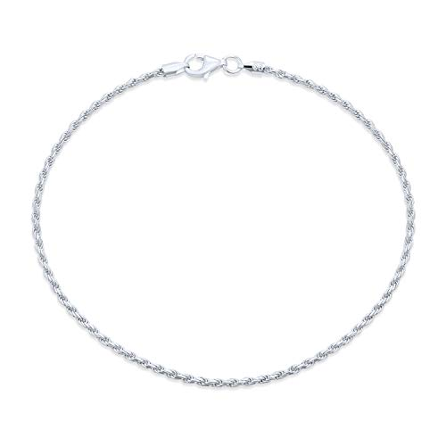 Bling Jewelry Simple Plain Rope Chain Anklet Ankle Bracelet for Women 925 Sterling Silver 50 Gauge Made in Italy 9 Inch