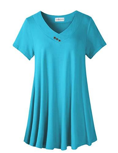 LARACE Women's Plus Size Tunic Tops Short Sleeve V Neck Floral Blouses Basic Flowy Leopard Print T Shirts for Leggings, Lake Blue 2X