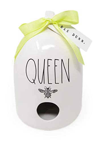 Rae Dunn By Magenta Queen Ceramic LL Bee Icon Beehive Shaped Decorative Birdhouse with Yellow Ribbon 2020 Limited Edition -  Rae Dunn Artisan Collection by Magenta