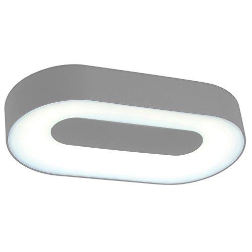 Eco Light Moderne Außenleuchte für Wände oder Decken Ublo IP54, oval, 28,3 x 15,3 cm, silber 3491 L SI