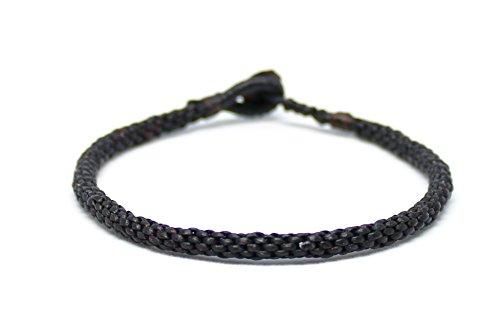 Origin Siam Handgemachtes thailändisches buddhistisches Armband | Unisex Schlankes Armband | Karma Glück Liebe Freundschaft | Yoga-Meditations-Geschenk (Schwarz)