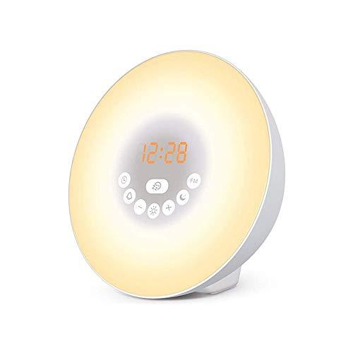 YUYANDE Reloj de alarma de amanecer: reloj LED digital con 6 interruptores de color y radio FM para habitaciones - Sonidos de naturaleza múltiple Simulación de la puesta de sol y toqueControl: con fun
