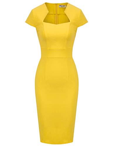GRACE KARIN Vintage Kleid gelb Rockabilly Damen Kleid Sommerkleid Knielang L CL8947-10