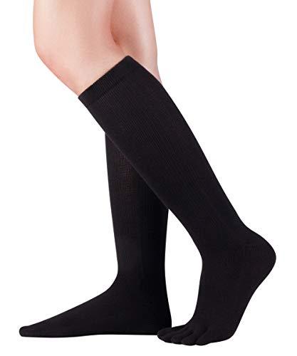 Knitido knielange Zehenstrümpfe Cotton and Merino, Kniestrümpfe mit Zehen für Damen & Herren, bis Gr. 46, Größe:39-42, Farbe:Black (101)