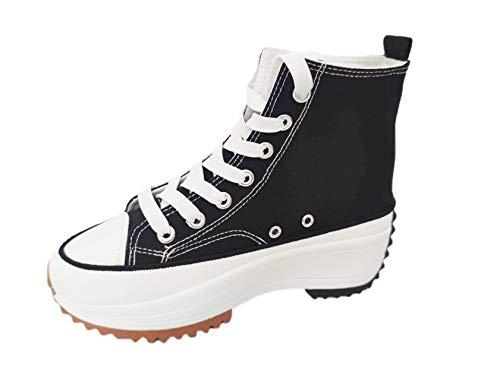 Zapatillas Altas Mujer Hike High Top Maxi Plataforma sin Marca ni Logotipos Suela 5cm, Negro T.36