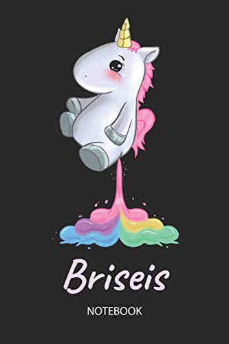 Briseis - Notebook: Blank Ruled Personalized & Customized Name Rainbow Farting Unicorn School Notebook Journal for Girls & Women. Funny Unicorn Desk ... Birthday & Christmas Gift for Women.