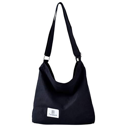 Umhängetasche Damen, Fanspack Canvas Schultertasche Damen Gross Kapazität Damentaschen Stoff Hobo...