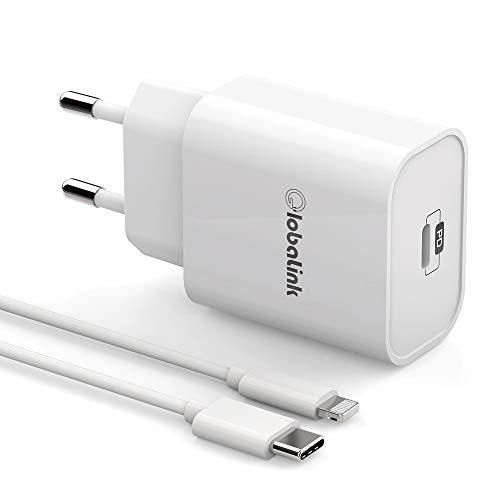 Cargador iPhone Carga Rapida GlobaLink, Cargador Rapido iPhone USB C+MFi Cable USB C a Lightning 2M, Power Delivery 3.0 para iPhone 12/12 Pro MAX/SE 2020/11 Pro Max/11 Pro/11/XS/XR/X/8, iPad