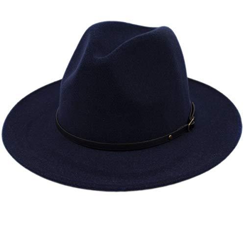 Lanzom Womens Classic Wide Brim Floppy Panama Hat Belt Buckle Wool Fedora Hat (One Size, Navy Blue)