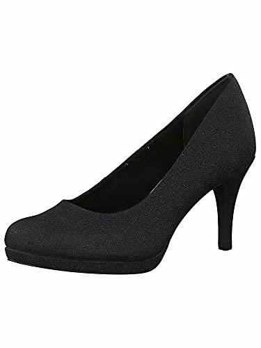 Tamaris Damen Klassische Pumps, Frauen Pumps,Touch It-Fußbett,Lady,Ladies,Women's,Woman,Court,Shoes,Absatzschuhe,weiblich,Black Glam,37 EU / 4 UK
