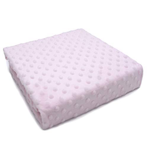 PEKITAS Manta Bebé Coralina Minky Dots Bolitas Extrasuave Gruesa 110x80 cm Rosa