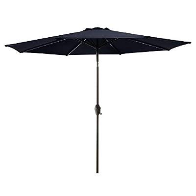 Bumblr 9Ft Patio Umbrella Outdoor Market Umbrella with 8 Sturdy Ribs,Wing Vent,Push Button Tilt & Crank (9 Ft, Navy)