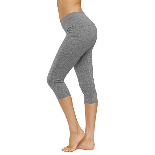 HMIYA Sporthose Damen, Sport Leggings Blickdicht Fitnesshose Tights Yoga Hose mit Taschen(3/4 Hellgrau,M)