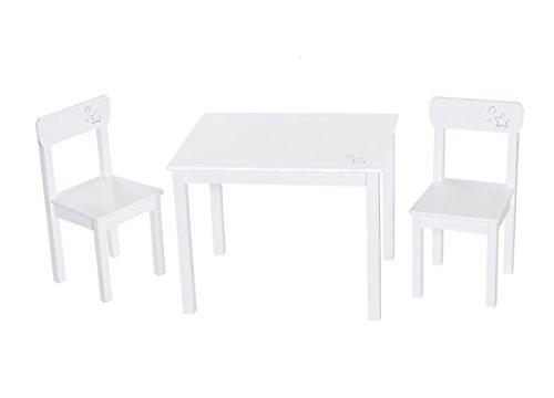 Roba Little Stars Kindermeubelset van 2 kinderstoelen & 1 tafel, zitmeubel, hout, wit gelakt, met sterren