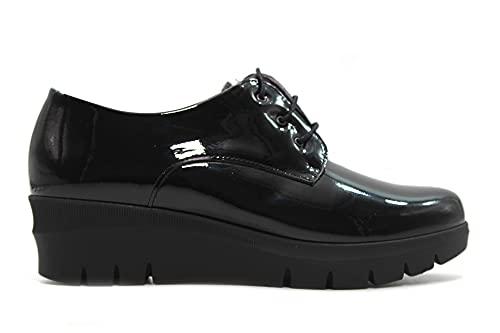 PITILLOS - 1112 Negro - Zapato Blucher de Charol, con cuña y Plataforma, Suela de Goma, para: Mujer