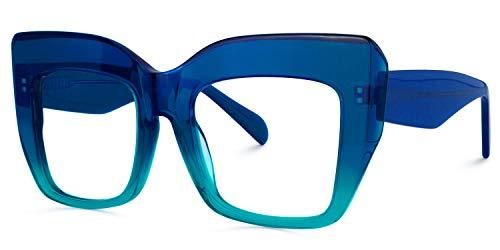 Voogueme Blue Square Blue Light Blocking Glasses Women, Block UV Blue Light Anti Eyestrain Eyewear Rosaura OA01901-03
