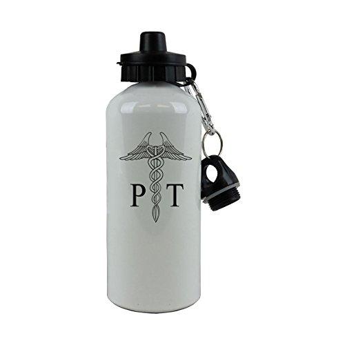 Personalized Custom PT Physical Therapist Aluminum White Finish 20 Ounce 600ML Sport Water Bottle Customizable (Black)