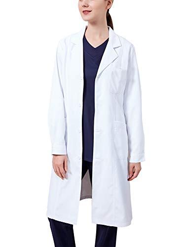 Memoryee Bata de Laboratorio Profesional Mujer Blusa Blanca Ropa de Trabajo y Uniformes Estudiantes Comida Enfermera Médica Médico/Delgado/L