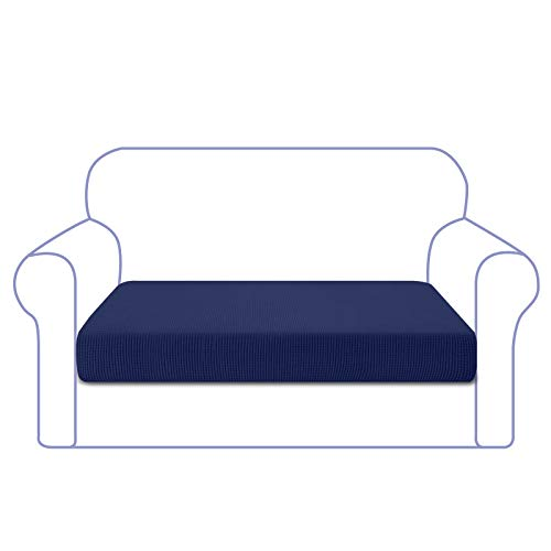 Granbest Funda de Cojín de Asiento de Sofá de Alta Elasticidad Funda de Asiento de Sofá Súper Suave Protector de Cojín de Sofá Tela de Jacquard con Fondo Elástico(2 Plaza,Azul Marino)