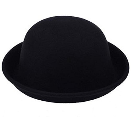 Vintage Style Bowler Derby Hat Womens Ladies Wool Gift (Black)