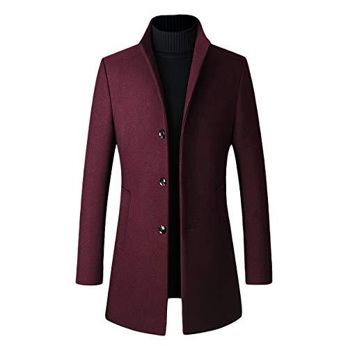 Abrigo de invierno largo para hombre, de lana cálida, para invierno, con cuello alto rojo intenso XL