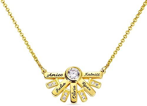 Lakabara - Collar de mujer de plata de ley 925 con forma de sol, collar tallado con nombre y piedra de nacimiento You are My Sunshine-Ladies colgante de oro