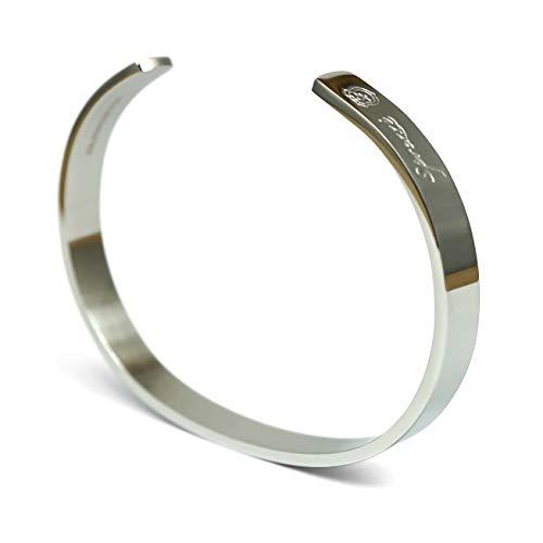 Sprezzi Herren-Armreif Edelstahl silber Modisch Fashion Armband aus massivem 316L Stahl größenverstellbar | minimalistischer Männer Schmuck aus Deutschland (poliert, silber)