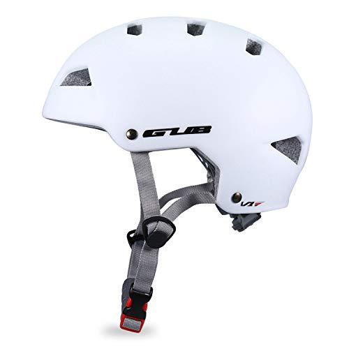 Babimax Fahrradhelm Schutzhelm Halbschalenform EPS+PC Gut Belüftet Größe Verstellbar für Radfahren Skateboard Klettern (Weiß, M)