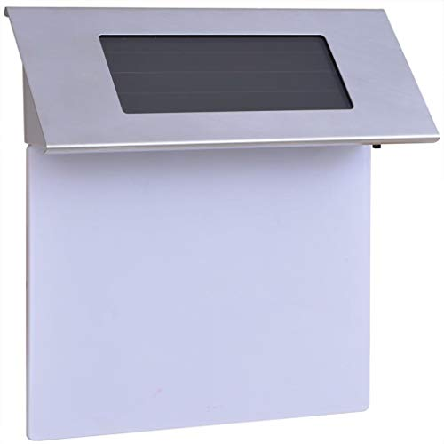 vidaXL Lámpara Solar LED de Exterior con Número de Casa Acero Inoxidable...