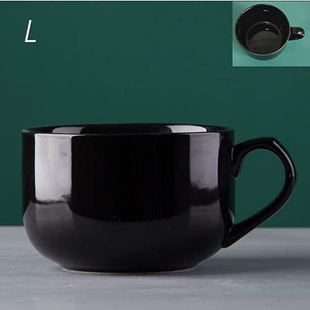 jjh Taza de café de 700 ml de cerámica, taza de desayuno con Handgri, taza de viaje, regalo ideal para tus amigos (color: negro puro L)