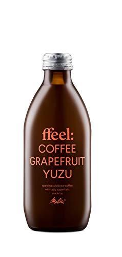 Melitta ffeel Cold Brew Coffee with Fruit Lemonade 6 x 330 ml Grapefruit Yuzu | Kaffee Kaltgetränk natürlich vegan koffeinhaltig ohne Zusatz von Zucker | Coldbrew Coffee mit Superfruit Limonade