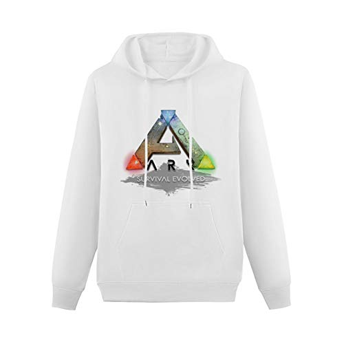 Long Sleeve Hooded Sweatshirt Ark Survival Evolved Ark Logo Cotton Blend Hoody White XXL