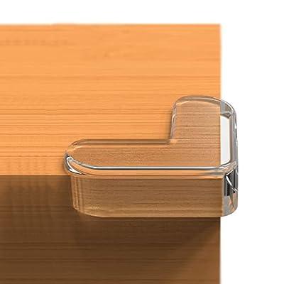 GULUGULU コーナークッション コーナー ガード 透明 ビッグサイズ 柔かいPVC 12個セット 赤ちゃん 子供 ケガ防止 保育園 安全対策 家具の角を保護 テーブルガード 角 ガード ナノ両面テープ貼り付き (L型, 透明)