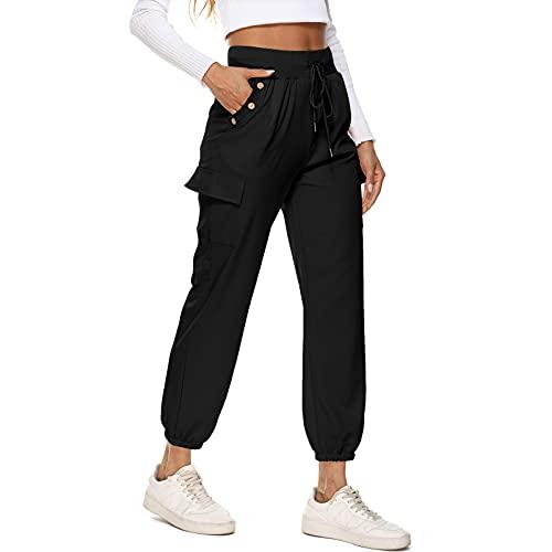 MUYOGRT Pantalones Chándal Mujer Jogging Pantalón Deportivos con Bolsillos Jogger Pants Sweatpants Casual Ropa de Casa Yoga Fitness Jogger Correr Casual(Black,S)