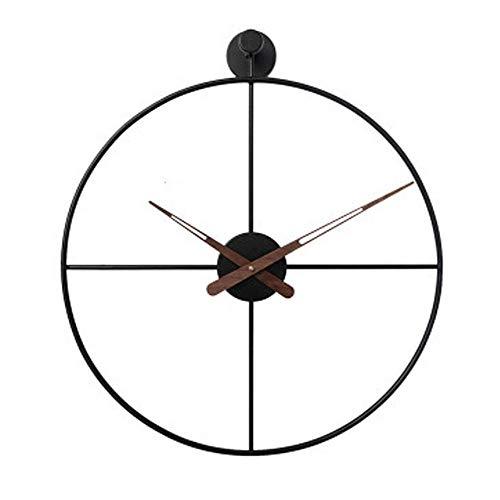 Fnho Reloj de Pared Moderno silenciosa No-Ticking,Reloj de Pared Decorar La Oficina Mute DIY,Reloj Colgante Simple y Suave, Reloj de Pared Creativo de Moda-Negro A_60cm