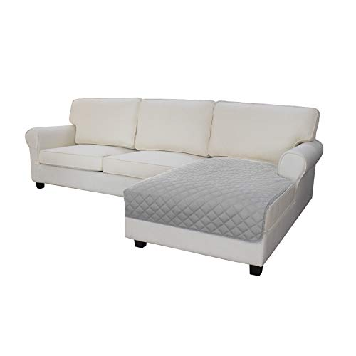 Easy-Going Sofa Slipcover L Shape Sectional Couch Cover 42 x 52 inches Rectangular Chaise Lounge Cover Reversible Sofa Cover Furniture Protector for Pets Kids Children Dog Cat(Light Gray/Light Gray)