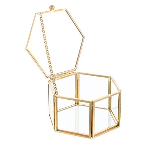Tomaibaby Caja de Joyería de Cristal Vintage Organizador de Exhibición de Joyas Geométricas Doradas Caja de Recuerdo Caja Decorativa para El Hogar Caja de Almacenamiento Anillo Pendiente